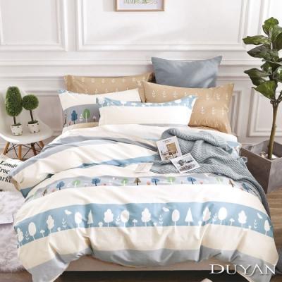 DUYAN竹漾-100%精梳棉/200織-單人床包被套三件組-早安森林 台灣製