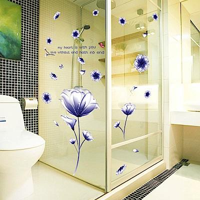 半島良品 DIY無痕壁貼-絢爛紫花朵AY9184B(紫) 60x90cm