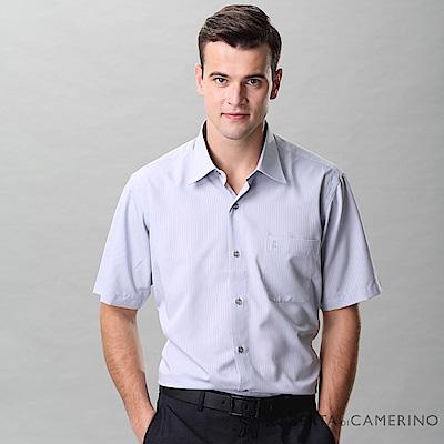 ROBERTA諾貝達 台灣製 合身版 吸濕排汗 乾爽舒適 條紋短袖襯衫 灰色