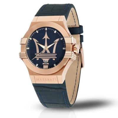MASERATI 瑪莎拉蒂 經典黑金計時皮帶腕錶42mm(R8851108027)