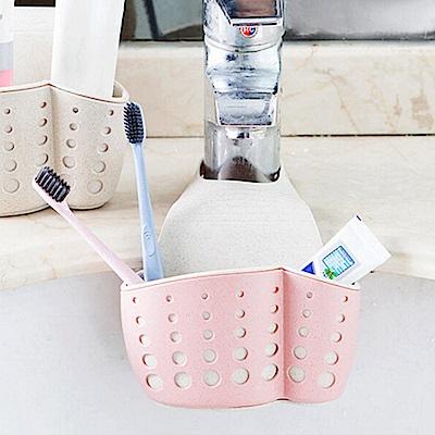 E-dot 北歐風雙層加厚可掛式廚浴瀝水掛籃(四色選)