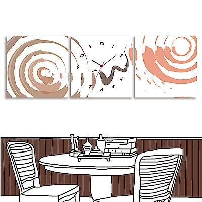 24mama掛畫 三聯式 藝術抽象 無框畫 時鐘掛畫30x30cm-徘徊
