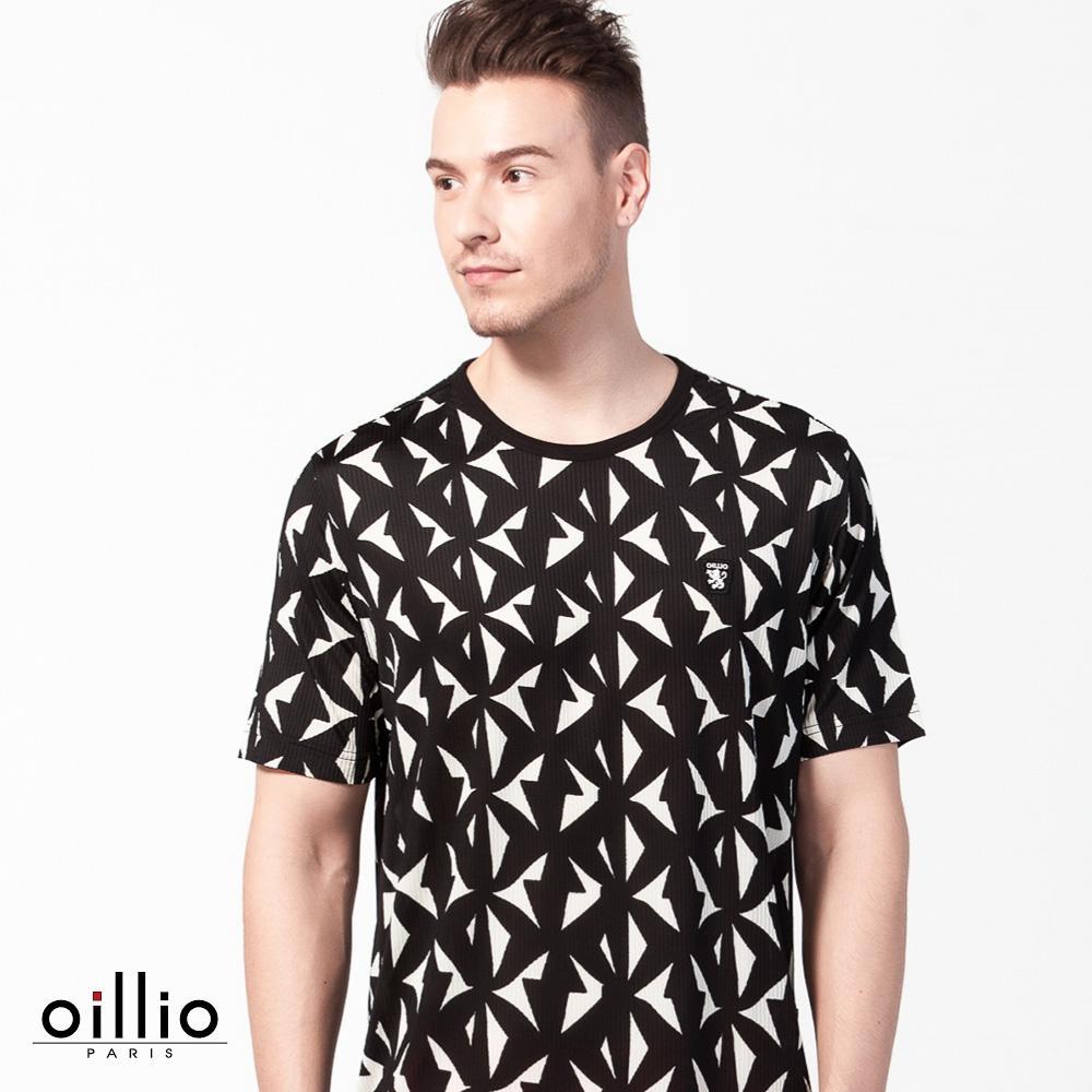 oillio歐洲貴族 超柔軟透氣圓領T恤 滿版設計圖案 黑色