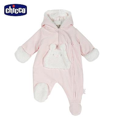 chicco-糖果兔系列-毛絨裡連帽側開兔裝-粉(3-12個月)