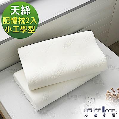 House Door 歐美熱銷款 天絲舒柔表布 工學型釋壓記憶枕-小尺寸2入