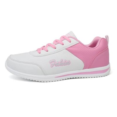 韓國KW美鞋館-鞋輕甜美流線英文街頭耐折跑步鞋 白