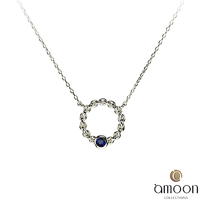 amoon 璀璨星空系列 花好月圓 K金藍寶石項鍊