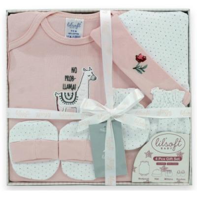 美國Elegant kids-粉色小羊駝4件式彌月禮盒