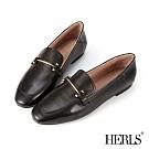 HERLS樂福鞋-全真皮兩穿一字釦環平底鞋樂福鞋-黑色