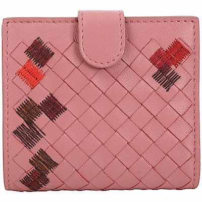 BOTTEGA VENETA 小型 撞色縫線小羊皮編織釦式短夾(玫瑰粉)