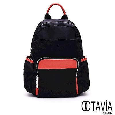 OCTAVIA8 - 蜻蜓飛 強化尼龍撞色口袋小型後背包- 點點桔