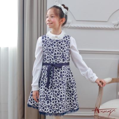 Annys安妮公主-華麗復古青花瓷花朵紋秋冬款背心裙*7219藍色