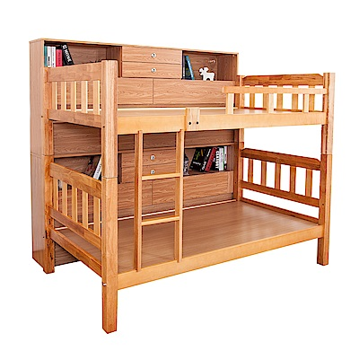 Bernice-卡特爾3.5尺實木雙層床架(含收納邊櫃)