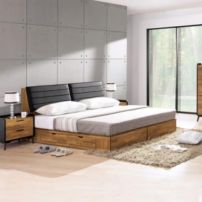 Boden-雷吉6尺雙人加大工業風床組(床頭箱+四抽收納床底)(不含床墊)