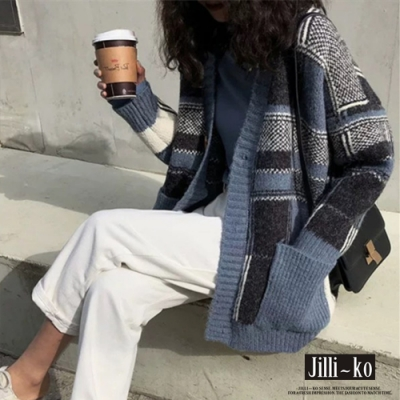 JILLI-KO V領色塊針織開扣外套- 藍/卡其