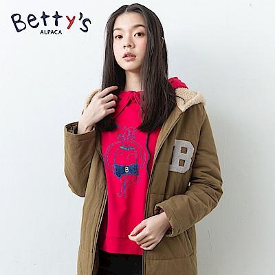 betty's貝蒂思 連帽抽繩動物刺繡T-shirt(紅色)