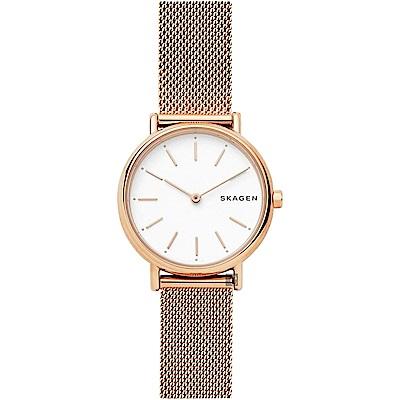 Skagen Signature 北歐簡約米蘭帶女錶-白x玫塊金/30mm
