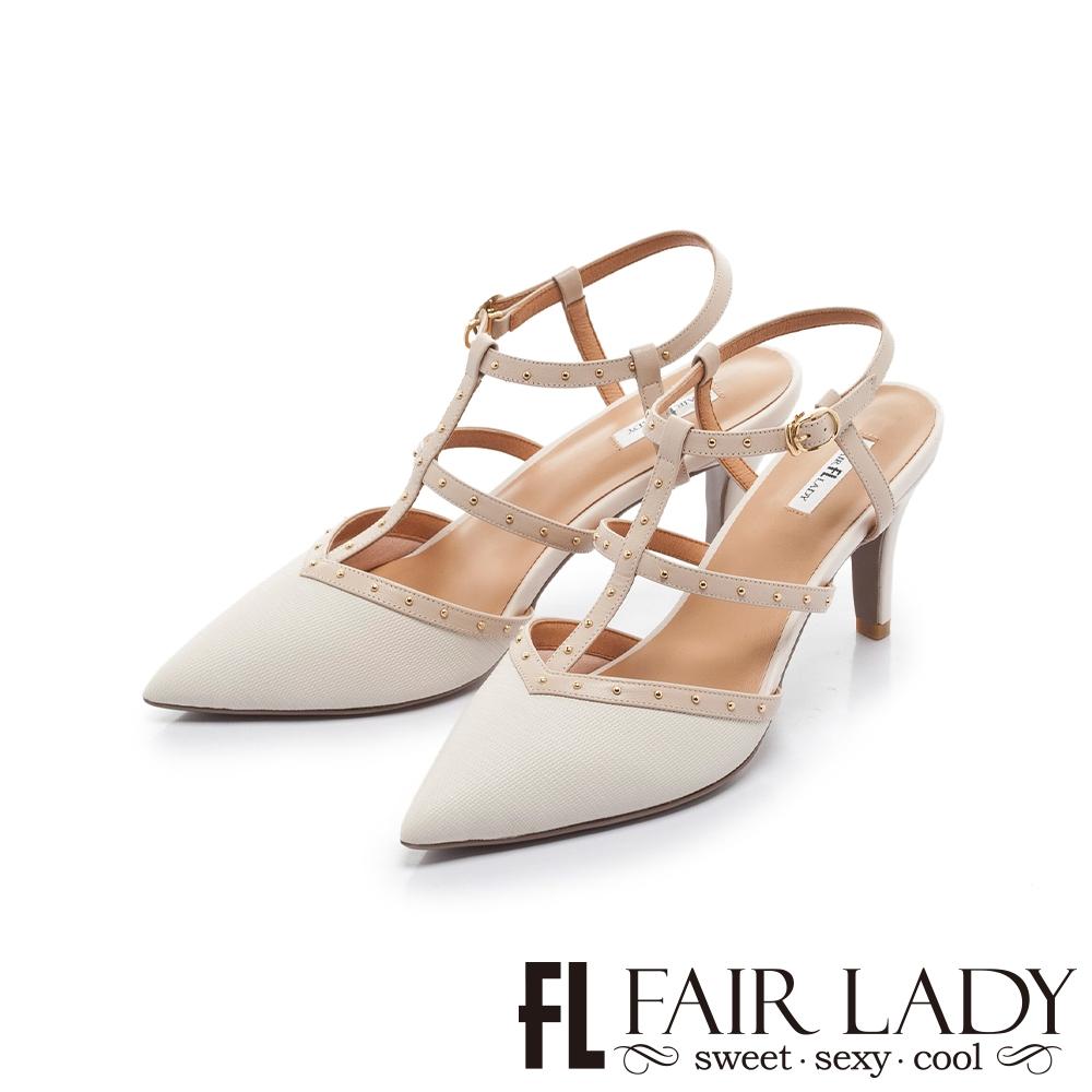 FAIR LADY 優雅小姐 尖頭魚骨繫帶鉚釘高跟涼鞋 白