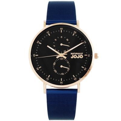 NATURALLY JOJO 簡約魅力米蘭帶手錶-玫瑰金X藍帶/38mm