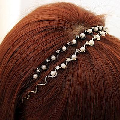 Hera 赫拉 韓款波浪水鑽珍珠髮箍-2色