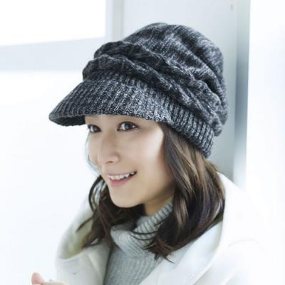 日本COGIT抗寒保暖條紋編織遮耳帽(黑灰色)