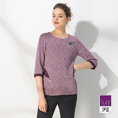 ILEY伊蕾 絨布壓花手縫配色圓領上衣(紫)