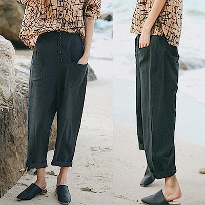 黑色單排扣寬鬆大碼亞麻哈倫褲-設計所在XK8780
