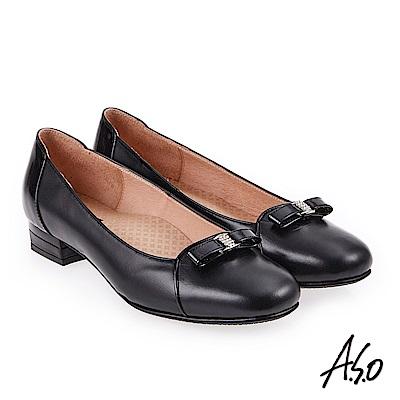 A.S.O 雅緻魅力 職場通勤立體蝴蝶釦飾低跟包鞋 黑