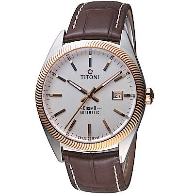 TITONI宇宙系列摩登經典機械腕錶(878SRG-ST-606)-咖啡皮