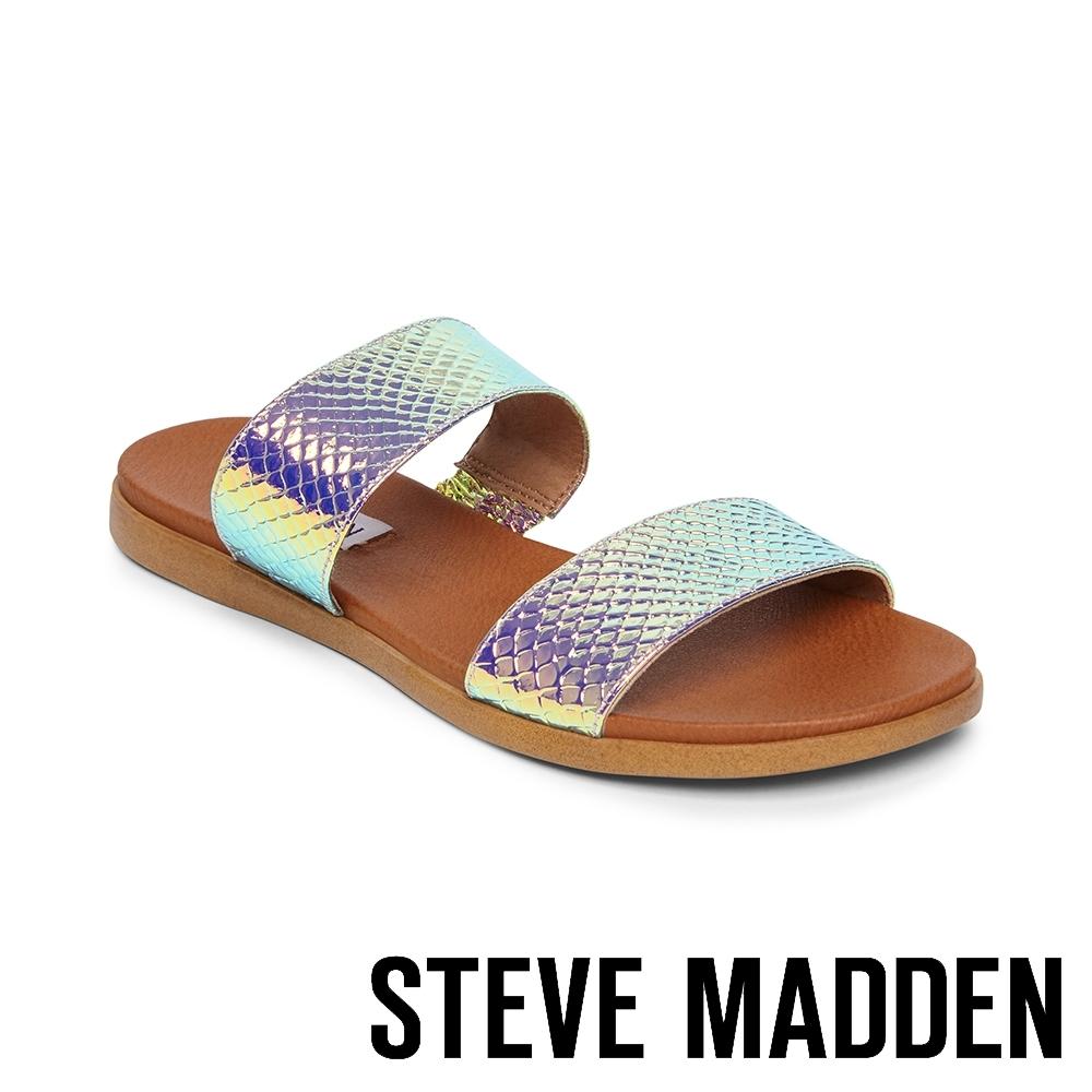 STEVE MADDEN-DUAL 亮眼目光 蛇皮紋二字帶拖鞋-銀色