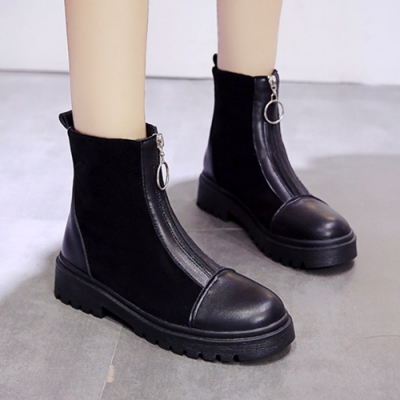 KEITH-WILL時尚鞋館-精緻刺繡亞麻拉鍊中筒靴-黑色