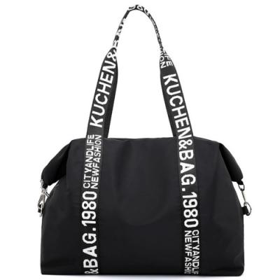 I.Dear時尚英倫字母風個性織帶尼龍購物大容量單肩斜背包(BG94黑色)
