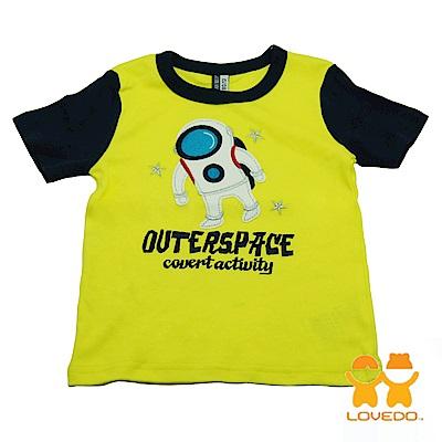 【LOVEDO-艾唯多童裝】太空漫步 拼色短袖T恤 (黃)