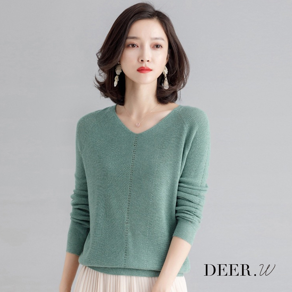 DEER.W V領落肩金絲針織上衣(綠)