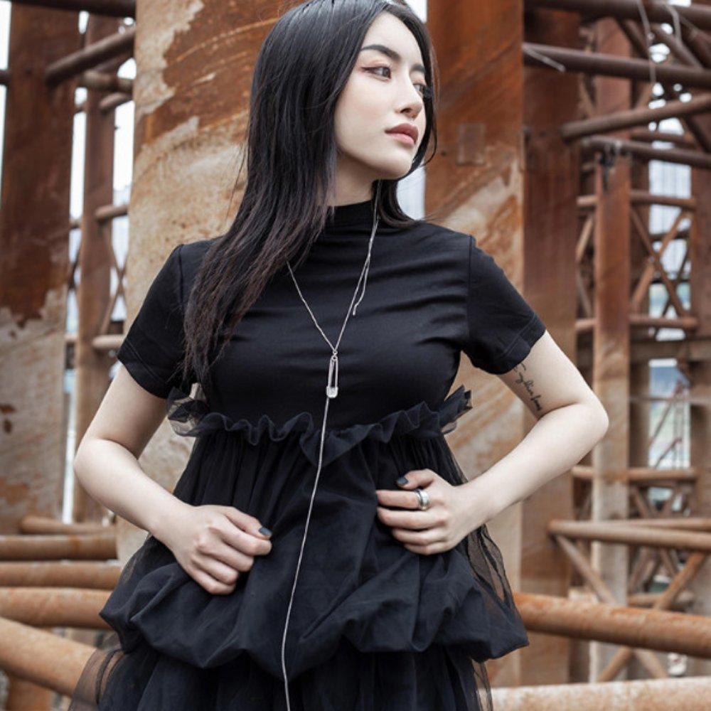 設計所在Style-暗黑網紗拼接修身氣質短袖T恤