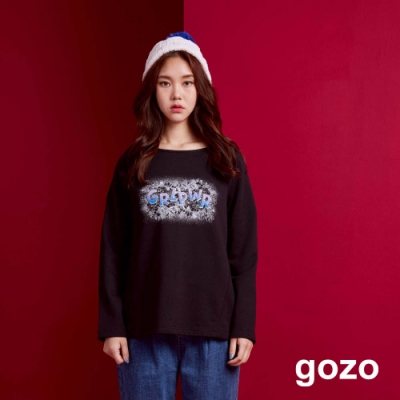 gozo 雙色植絨字母船型領上衣(二色)