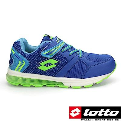LOTTO 義大利 童 極光 氣墊夜光童跑鞋(藍)