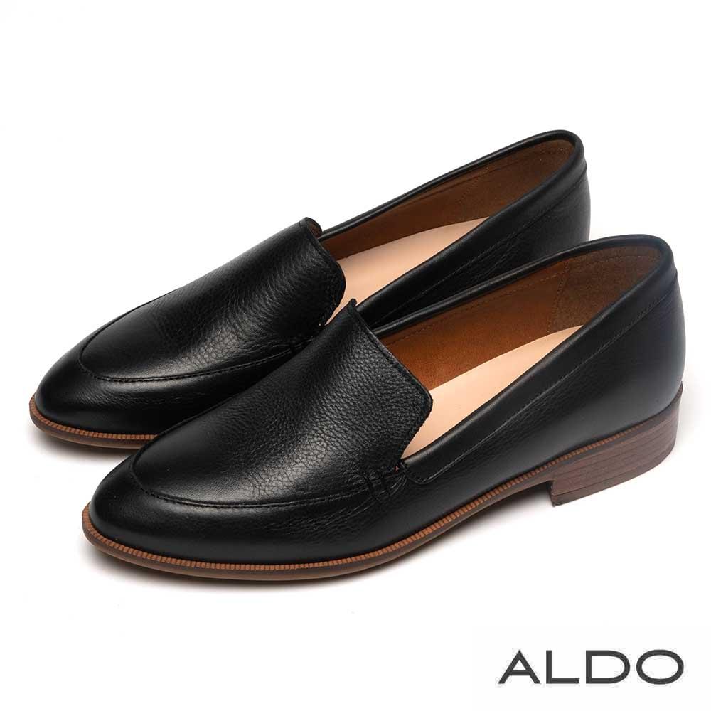 ALDO 質感真皮鞋緣翻摺木紋跟尖頭樂福鞋~尊爵黑色