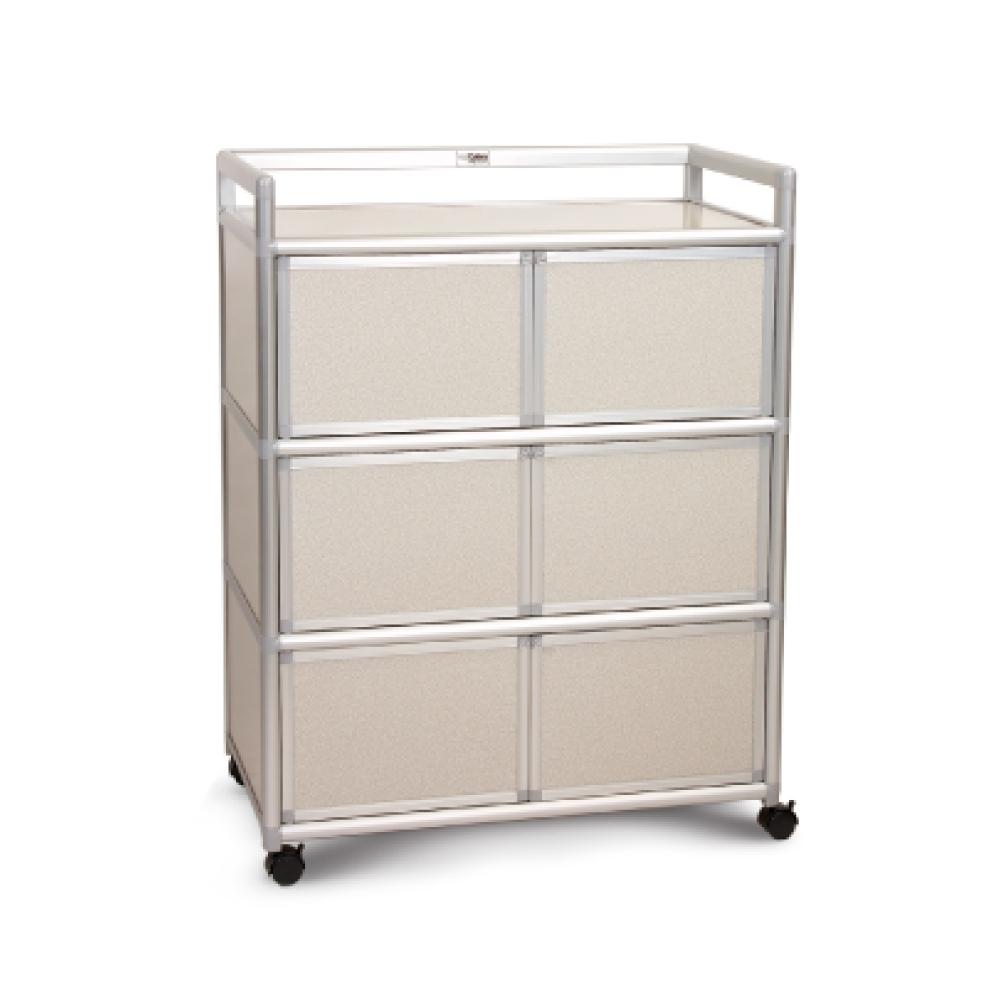 Cabini小飛象-白布面3.0尺鋁合金6門收納櫃88.5x50.8x115.3cm