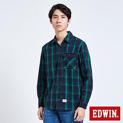 EDWIN燈芯絨格紋襯衫-男-墨綠色