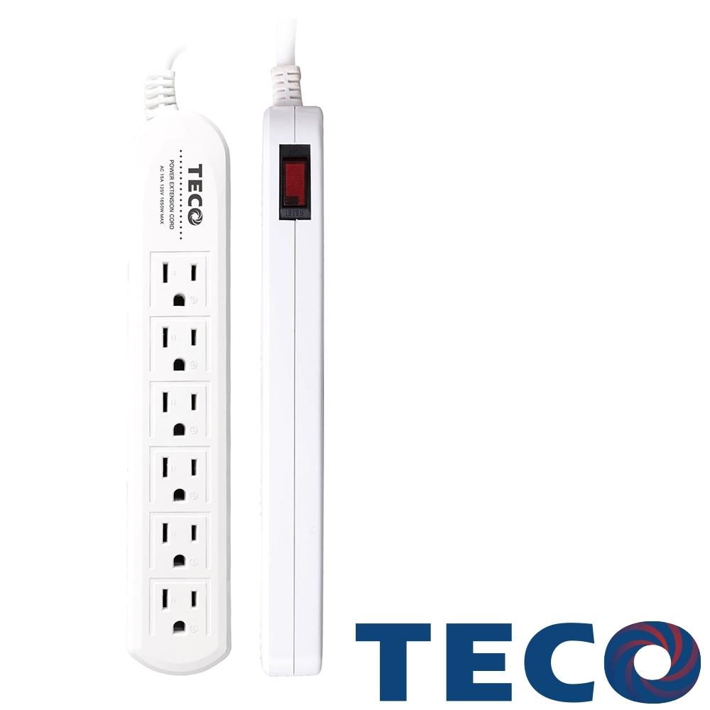 TECO東元 一開六插轉接電源線組 XYFWL216T9