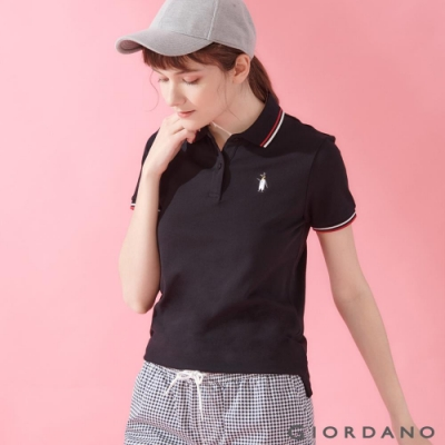 GIORDANO 女裝企鵝刺繡彈力萊卡POLO衫-09 標誌黑