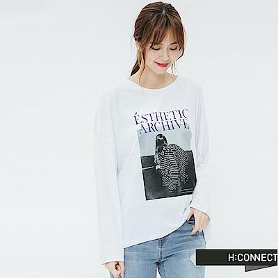 H:CONNECT 韓國品牌 女裝-黑白圖印長袖T-shirt-白