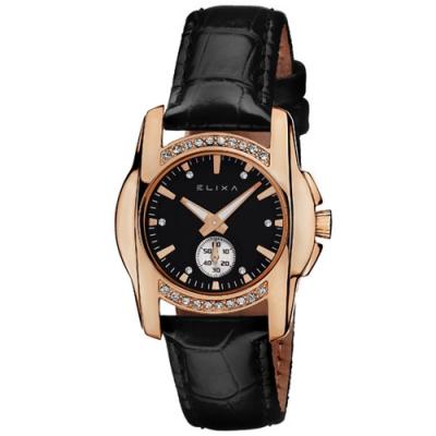 ELIXA ENJOY閃耀晶鑽單眼系列 黑錶盤x黑色皮革錶帶手錶30mm