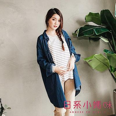 日系小媽咪孕婦裝-韓製孕婦裝~多口袋造型牛仔外套