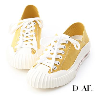 D+AF 街頭主流.奶油頭後踩式帆布休閒鞋*黃