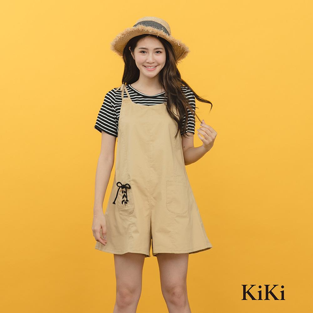 【KiKi】休閒造型綁結吊帶-短褲(共三色)