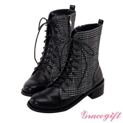 Grace gift-個性綁帶木紋中筒靴 千鳥格