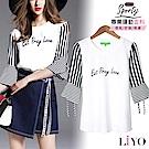 上衣MIT條紋喇叭袖寬鬆彈力透氣T恤LIYO理優 L822003 S-XL