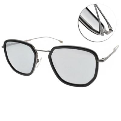 HUGO BOSS 太陽眼鏡  時尚多邊款/黑霧槍-白水銀 #HB1029FS 807T4